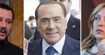 La combo, realizzata con tre immagini di archivio, mostra Matteo Salvini (S), Silvio Berlusconi e Giorgia Meloni. ANSA